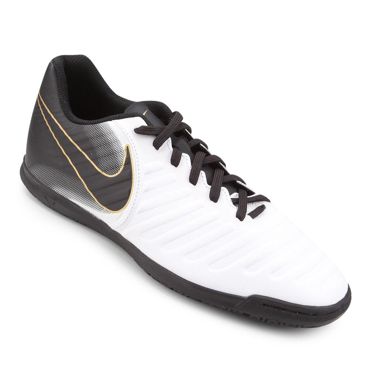 Chuteira Futsal Nike Tiempo Legend 7 Club IC - Branco e Preto - Compre Agora   39b16b020899f