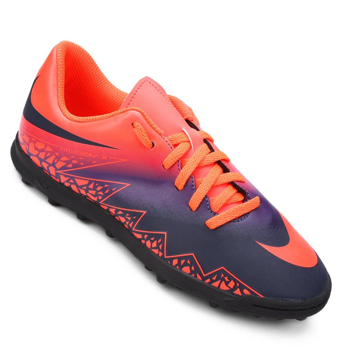 2328bc3bc2 ... Chuteira Nike Hypervenom Phade 2 TF Society Infantil - Roxo+Laranja ...