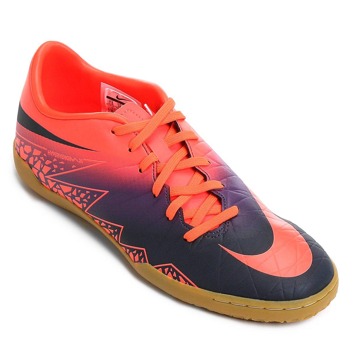 5bf05e1df0cc3 ... Tênis Chuteira Nike Hypervenom Phelon 2 IC Futsal - Roxo e Laranja  Comprar Chuteira Society ...