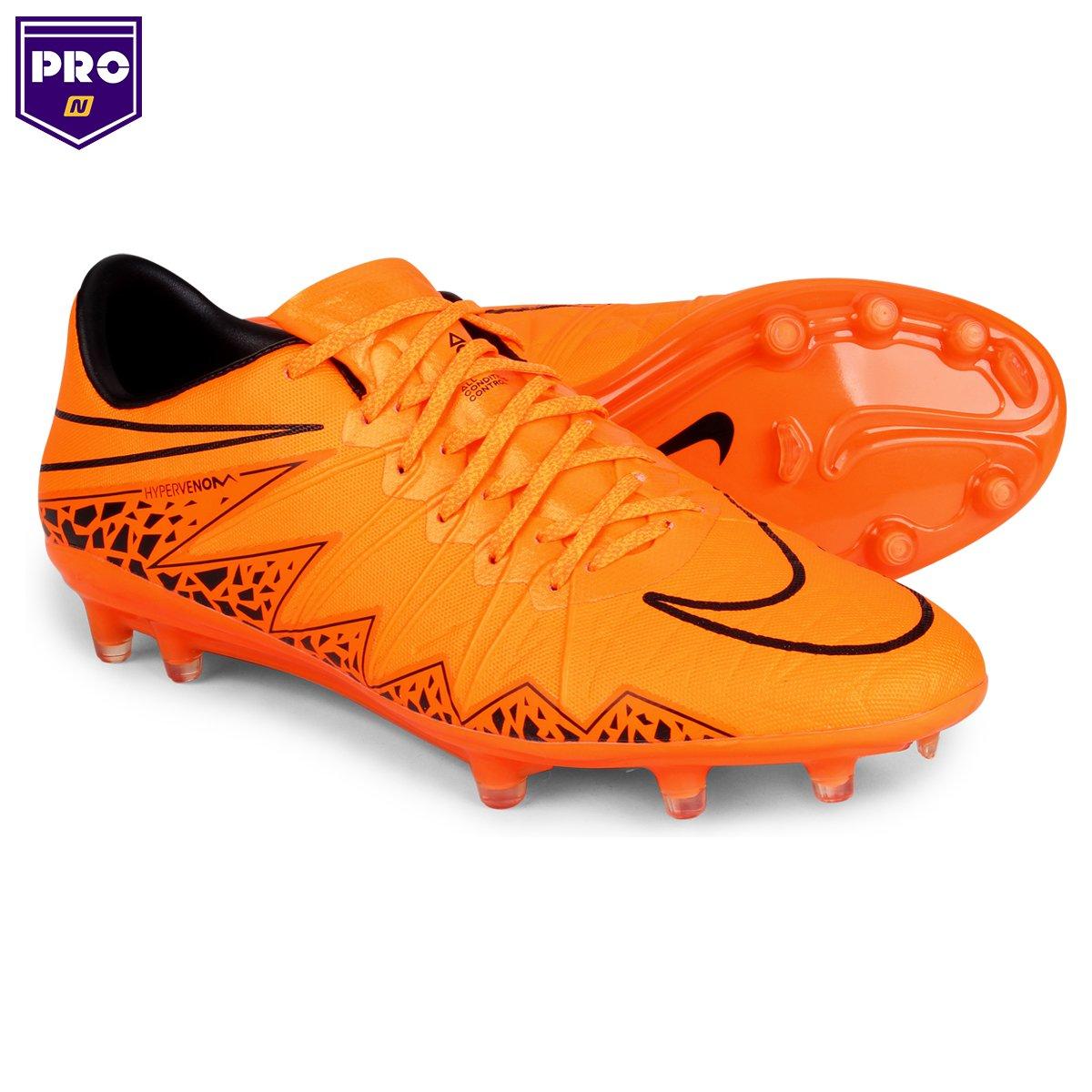 Chuteira Nike Hypervenom Phinish FG Campo - Laranja e Preto ... e8a840b6f6ccd