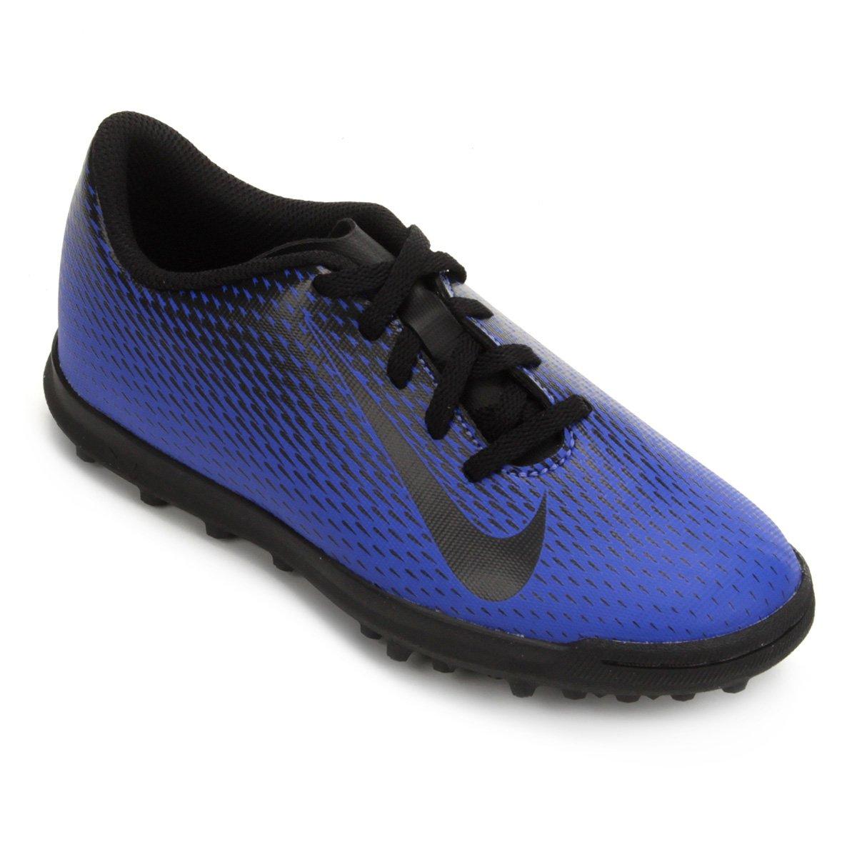 Chuteira Society Infantil Nike Bravata 2 TF - Azul e Preto - Compre ... 32682af442f0e