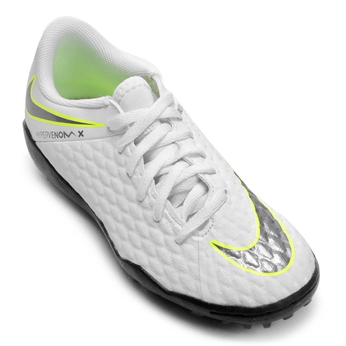 75d3cc44f12cd Chuteira Society Infantil Nike Hypervenom 3 Academy TF - Branco e Cinza - Compre  Agora