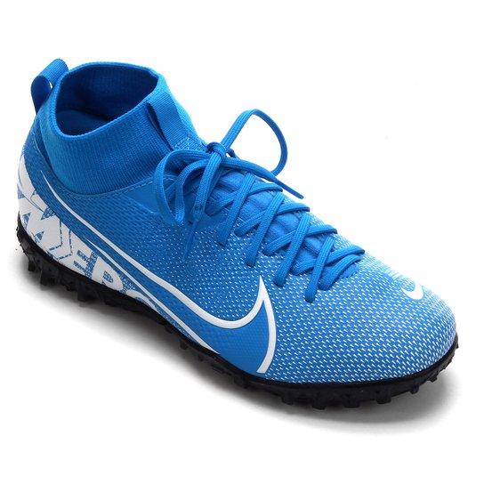 Chuteira Society Infantil Nike Mercurial Superfly 7 Academy TF - Azul+Branco