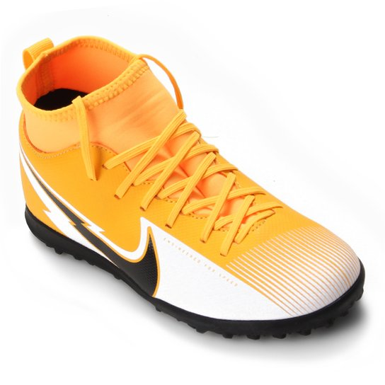 Chuteira Society Infantil Nike Mercurial Superfly 7 Club TF - Laranja+Preto