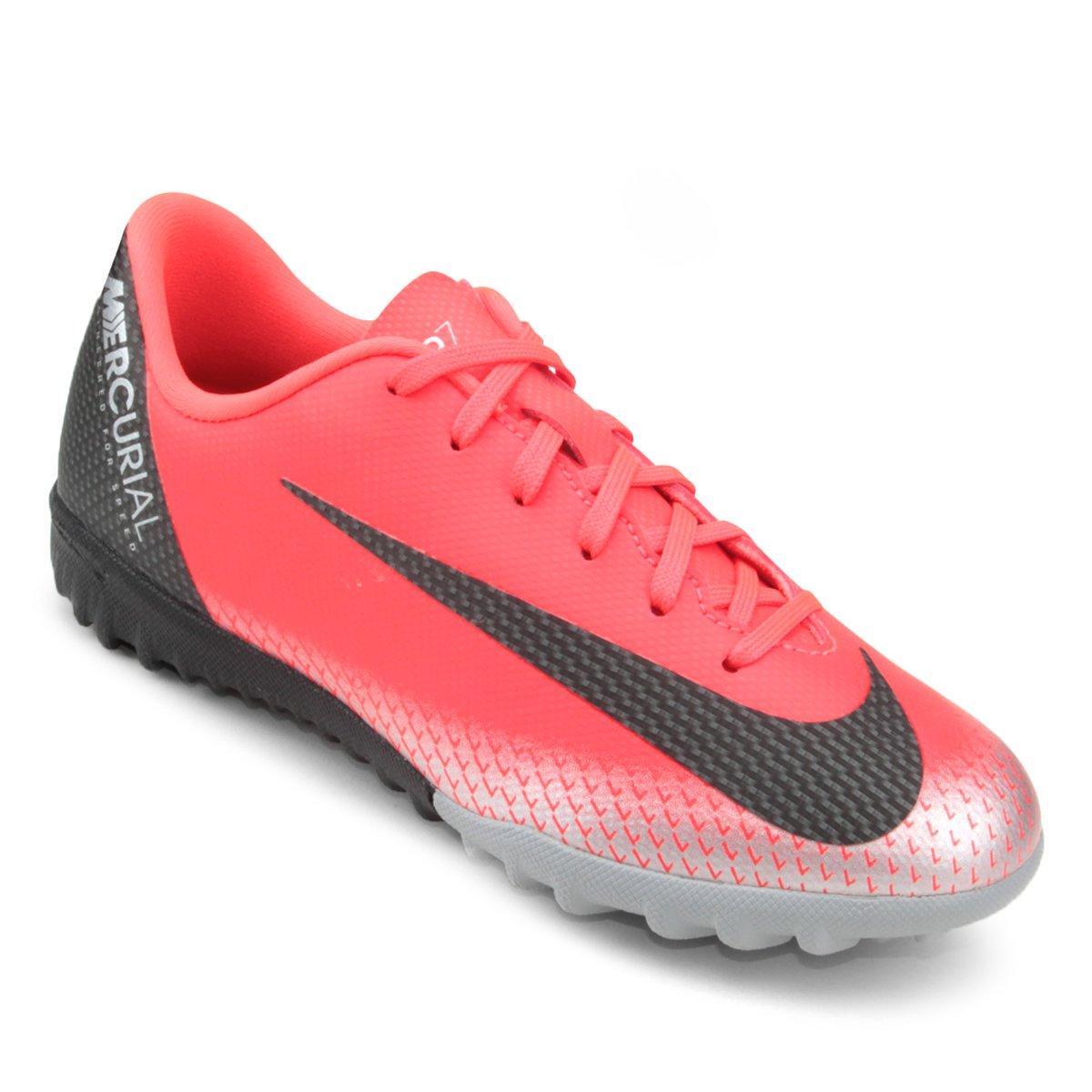 17ea2d9cced39 Chuteira Society Infantil Nike Mercurial Vapor 12 Academy GS CR7 TF -  Vermelho e Preto - Compre Agora