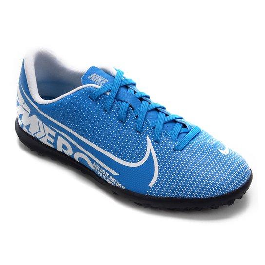 Chuteira Society Infantil Nike Mercurial Vapor 13 Club TF - Azul+Branco