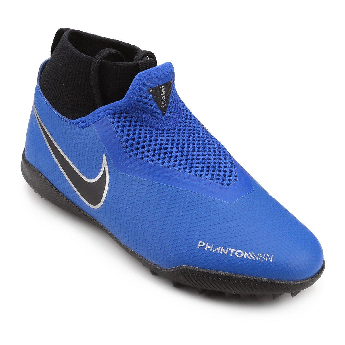 Chuteira Society Infantil Nike Phantom Vison Academy TF - Azul e ... b61ba9e4c8be5