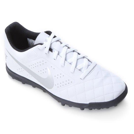 Chuteira Society Nike Beco 2 TF - Branco+prata