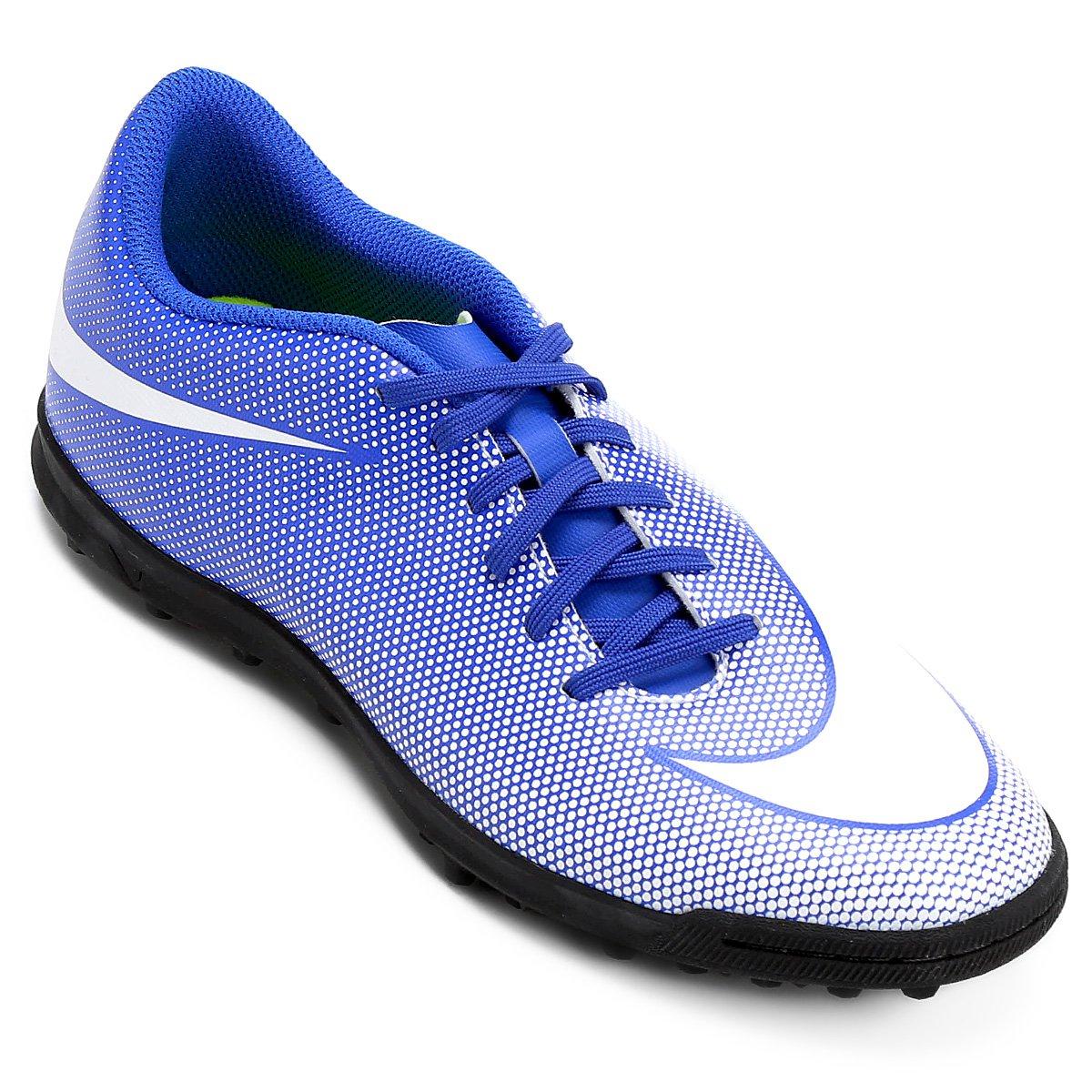 217a47b33e9eb Chuteira Society Nike Bravata 2 TF - Azul e Branco - Compre Agora ...