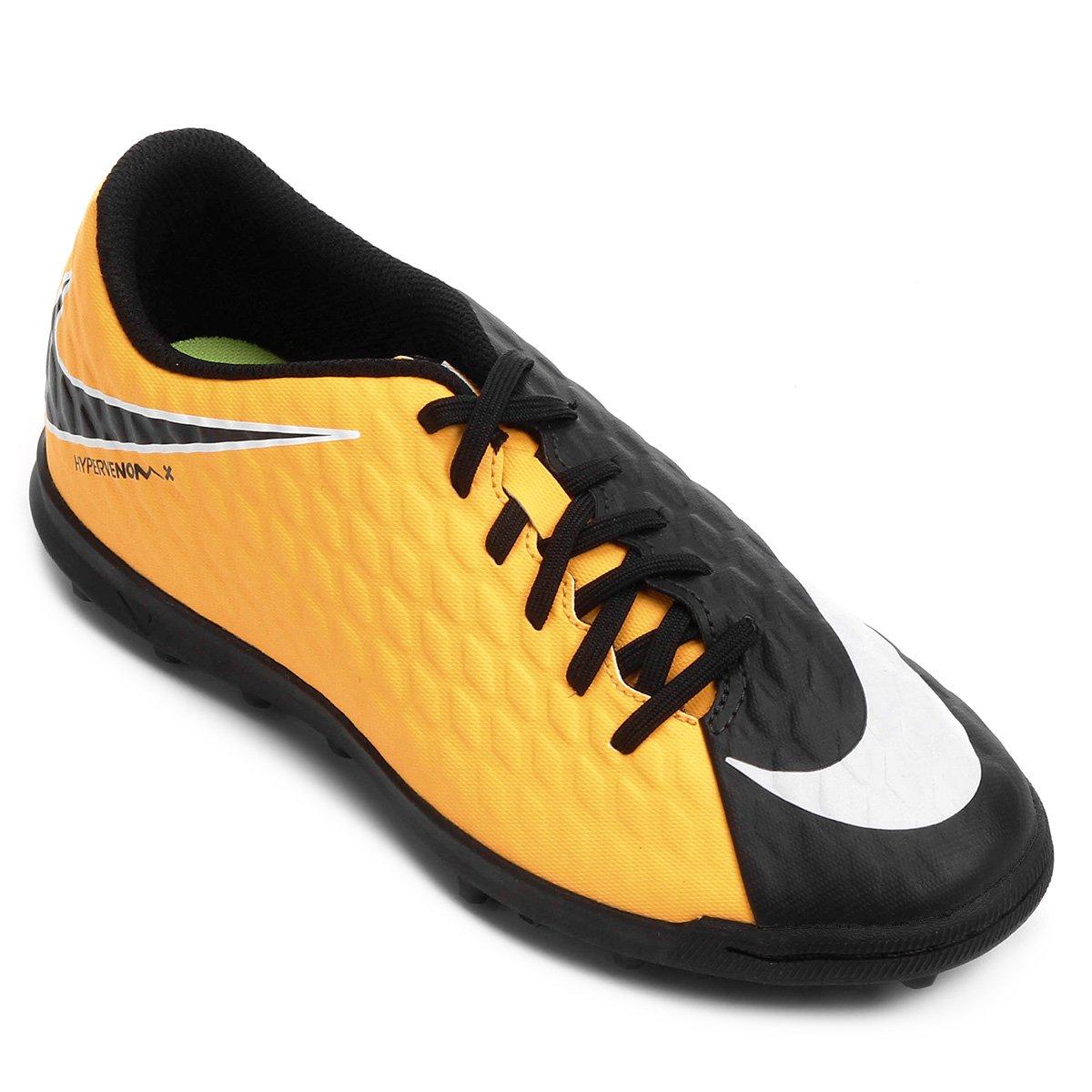 Chuteira Society Nike Hypervenom Phade 3 - Laranja e Preto - Compre ... f493ed572e1f2
