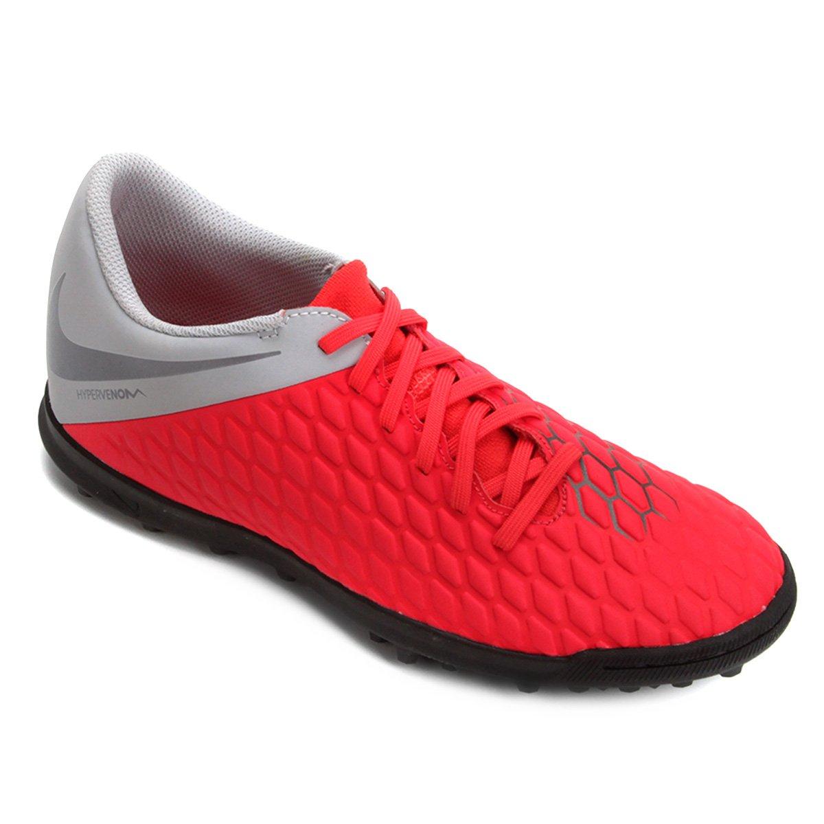 7b918723e9 Chuteira Society Nike Hypervenom Phantom 3 Club TF - Vermelho e Cinza
