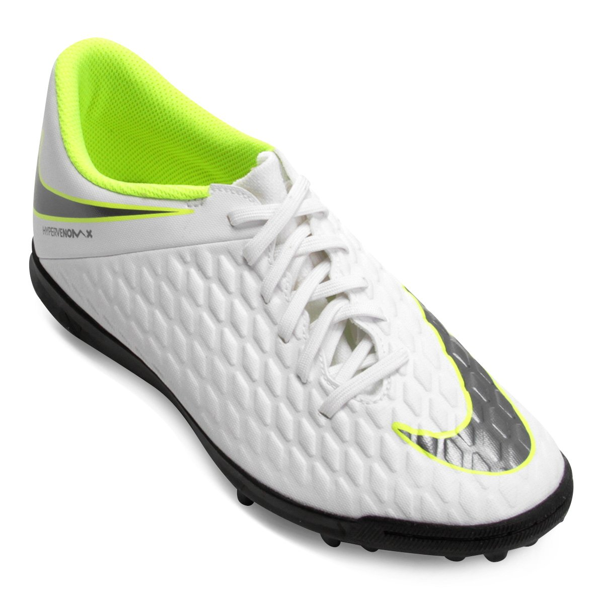 Chuteira Society Nike Hypervenom Phantom 3 Club TF - Branco e Cinza ... 0621cd86b935f