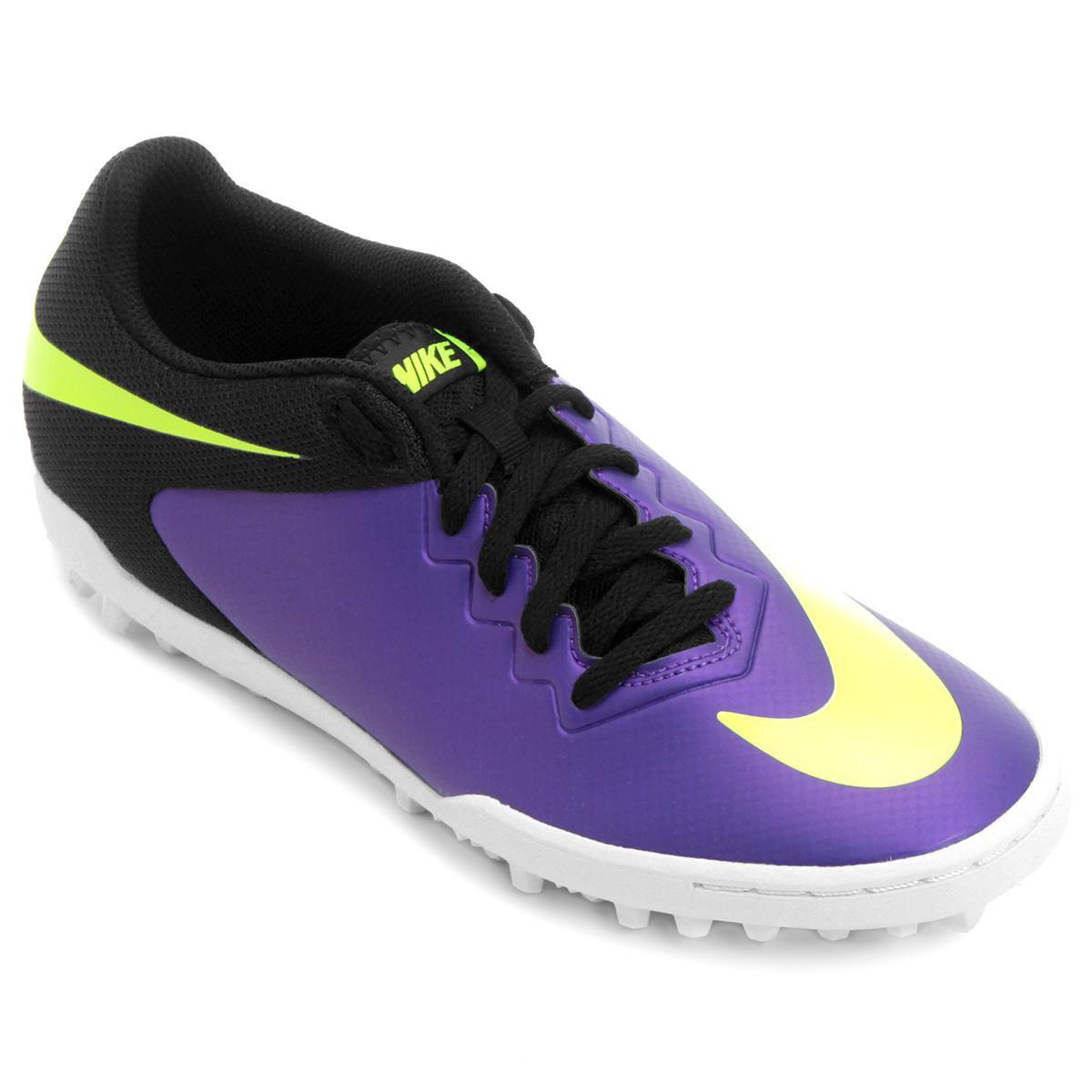 6e6f2abab1e52 Chuteira Society Nike Hypervenom Pro TF - Verde Limão e Roxo