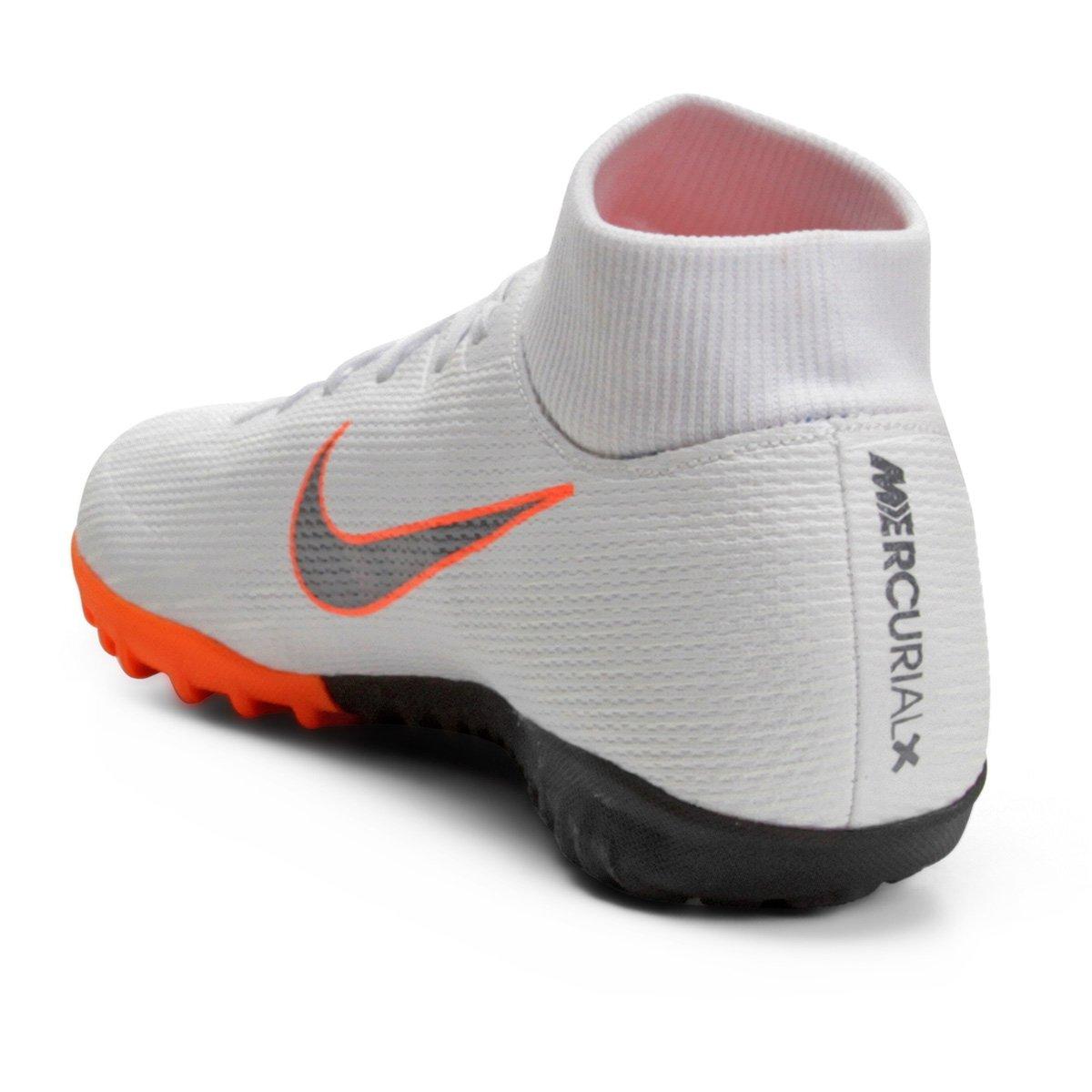 Chuteira Society Nike Mercurial Superfly 6 Academy - Branco e Cinza ... 3bbbc1b58c1e9