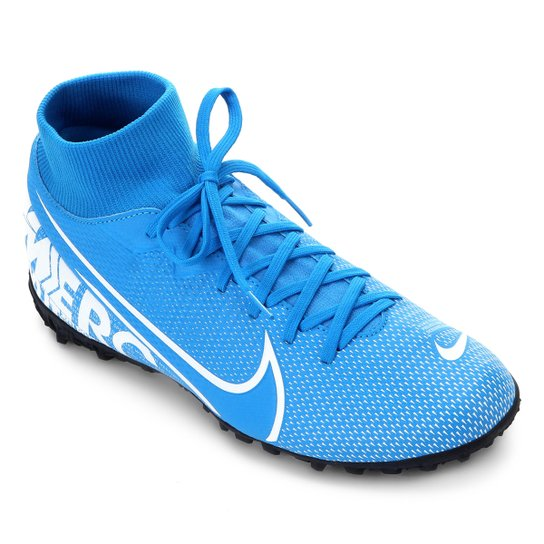 Chuteira Society Nike Mercurial Superfly 7 Academy TF - Azul+Branco