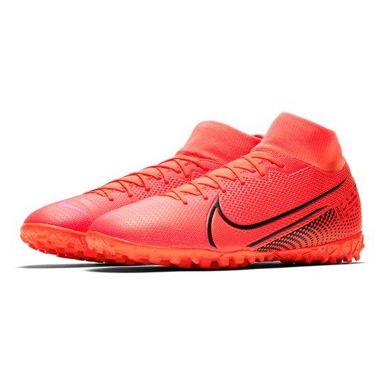 Chuteira Society Nike Mercurial Superfly 7 Academy TF - Vermelho+Preto