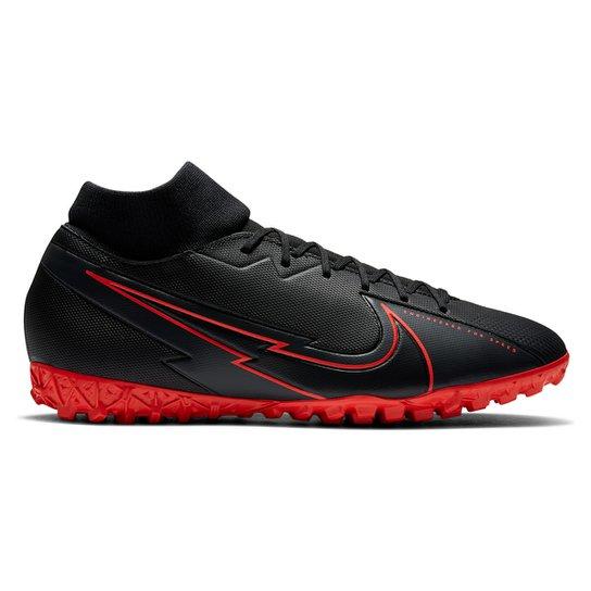 Chuteira Society Nike Mercurial Superfly 7 Academy TF - Preto+Chumbo