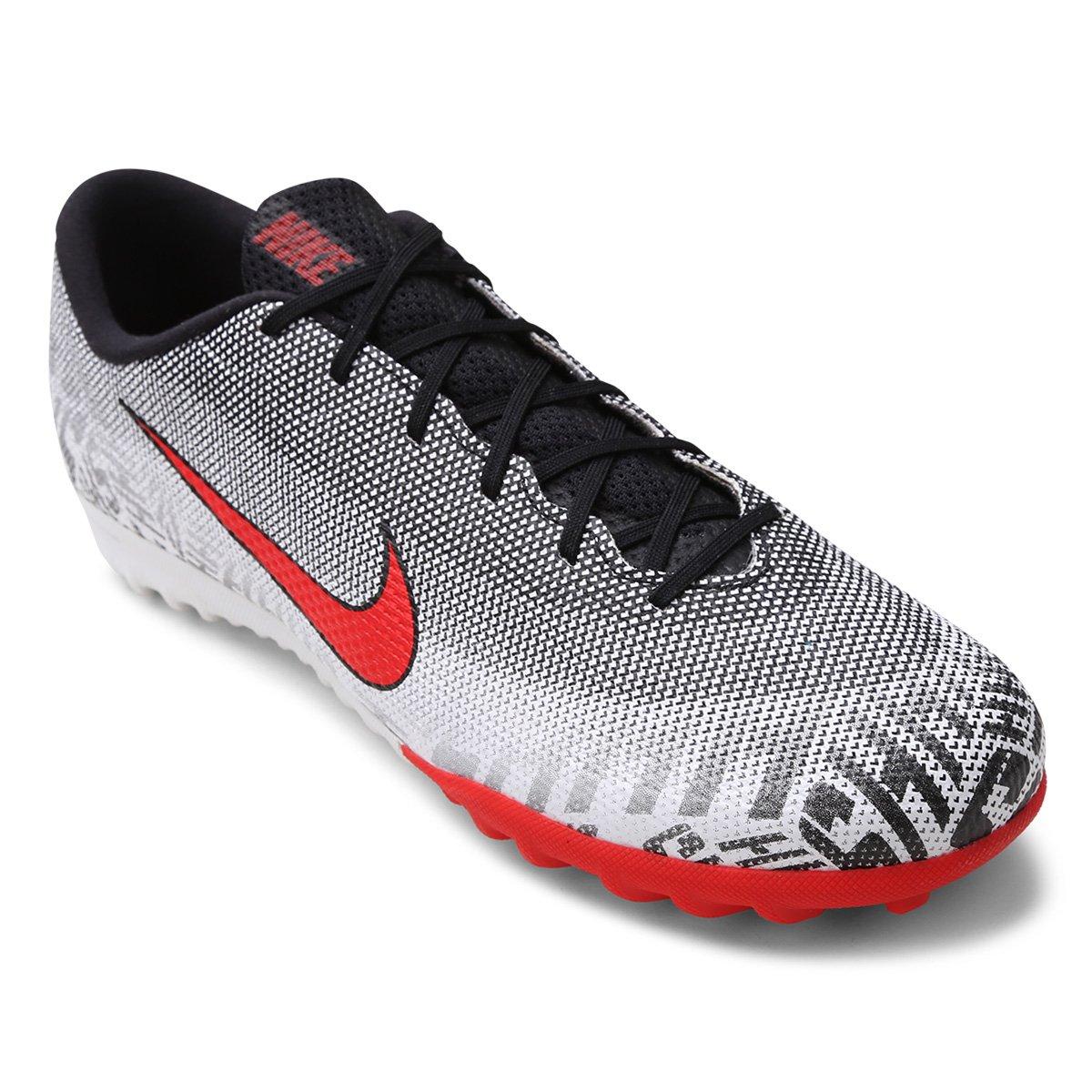fdc42395d9 Chuteira Society Nike Mercurial Vapor 12 Academy Neymar Jr TF - Branco e  Vermelho