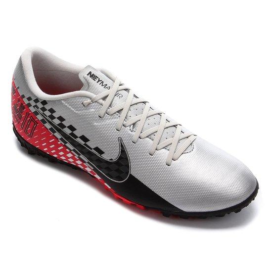 Chuteira Society Nike Mercurial Vapor 13 Academy Neymar Jr TF - Preto+Vermelho