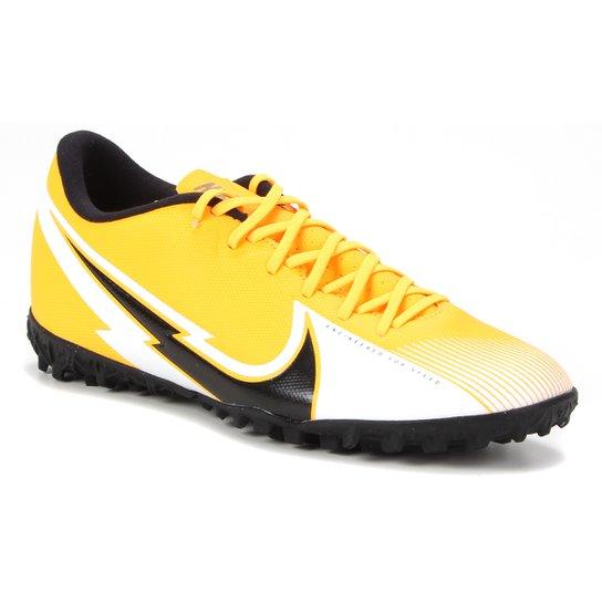 Chuteira Society Nike Mercurial Vapor 13 Academy TF - Laranja+Preto