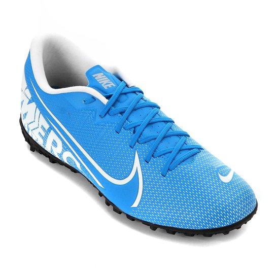 Chuteira Society Nike Mercurial Vapor 13 Academy TF - Azul+Branco