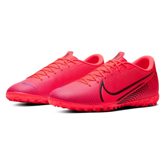 Chuteira Society Nike Mercurial Vapor 13 Academy TF - Vermelho+Preto