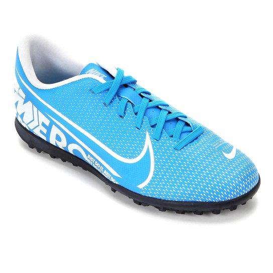 Chuteira Society Nike Mercurial Vapor 13 Club TF - Azul+Branco