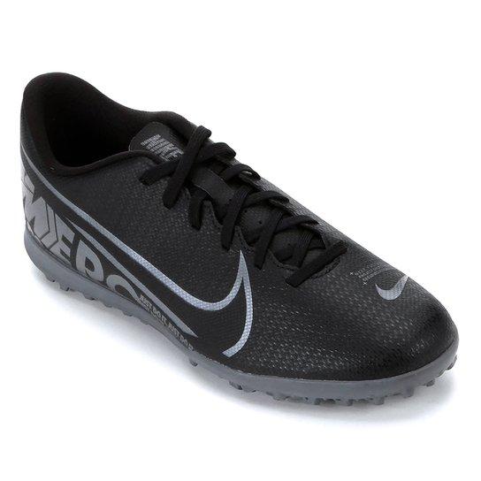 Chuteira Society Nike Mercurial Vapor 13 Club TF - Preto+Cinza