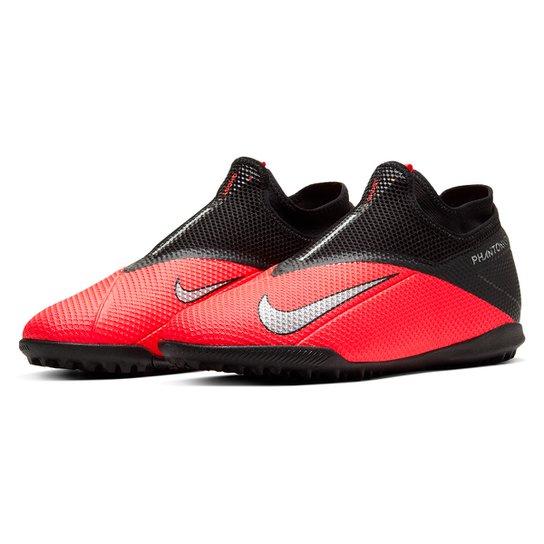 Chuteira Society Nike Phantom Vision 2 Academy DF TF - Vermelho+Prata