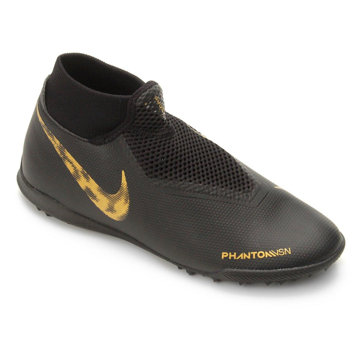 5174e0223ee Chuteira Society Nike Phantom Vision Academy DF TF - Preto e Dourado -  Compre Agora
