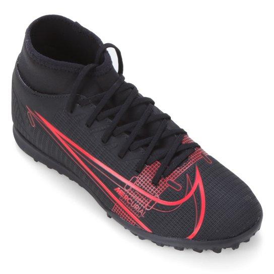 Chuteira Society Nike Superfly 8 Club - Preto+Vermelho