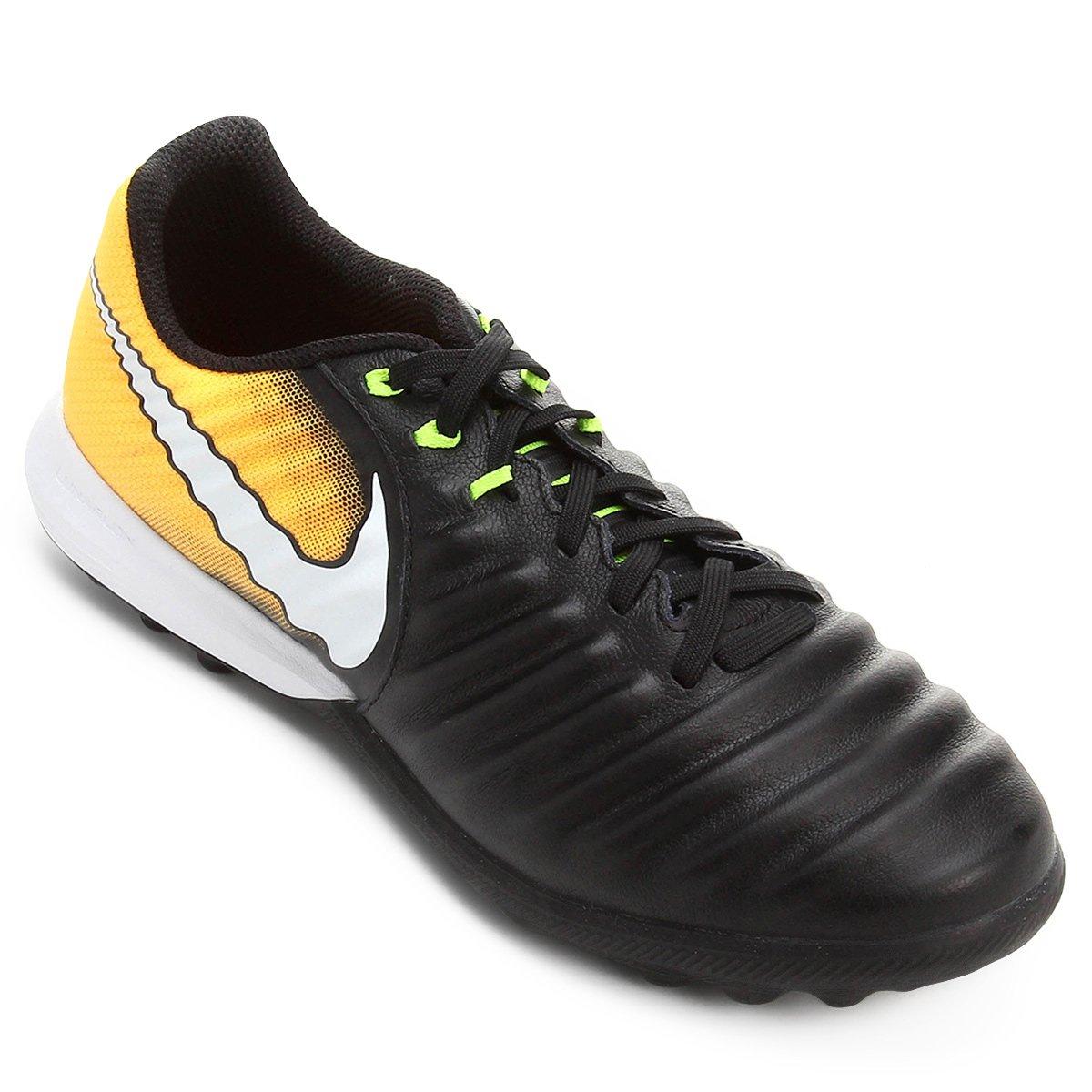 474a8e9f00 Chuteira Society Nike Tiempo Finale TF - Preto e Laranja - Compre ...