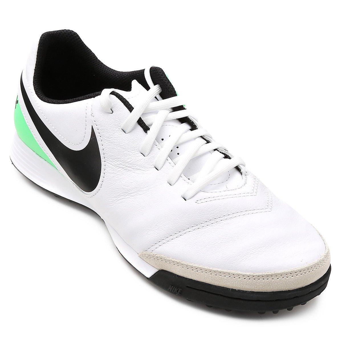 c5aaa7bdc7 Chuteira Society Nike Tiempo Genio 2 Leather TF - Branco e Verde ...