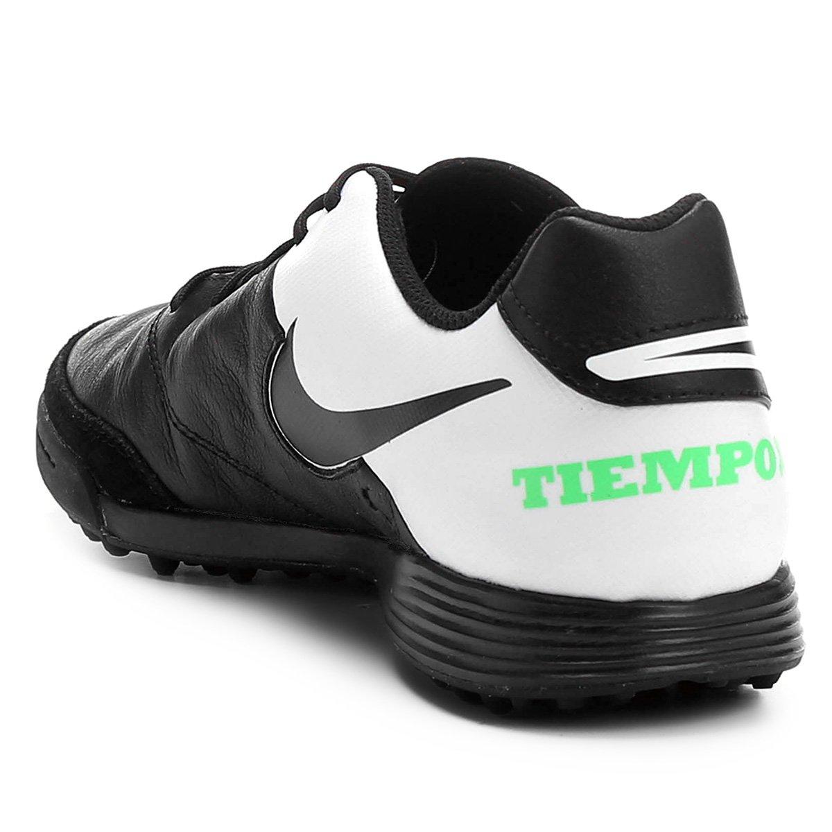 Chuteira Society Nike Tiempo Genio 2 Leather TF - Preto e verde ... e80efe533f6ef