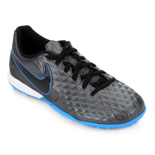Chuteira Society Nike Tiempo Legend 8 Academy TF - Preto+Azul