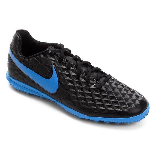 Chuteira Society Nike Tiempo Legend 8 Club - Preto+Azul