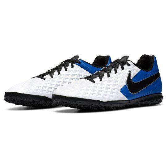 Chuteira Society Nike Tiempo Legend 8 Club - Branco+Preto