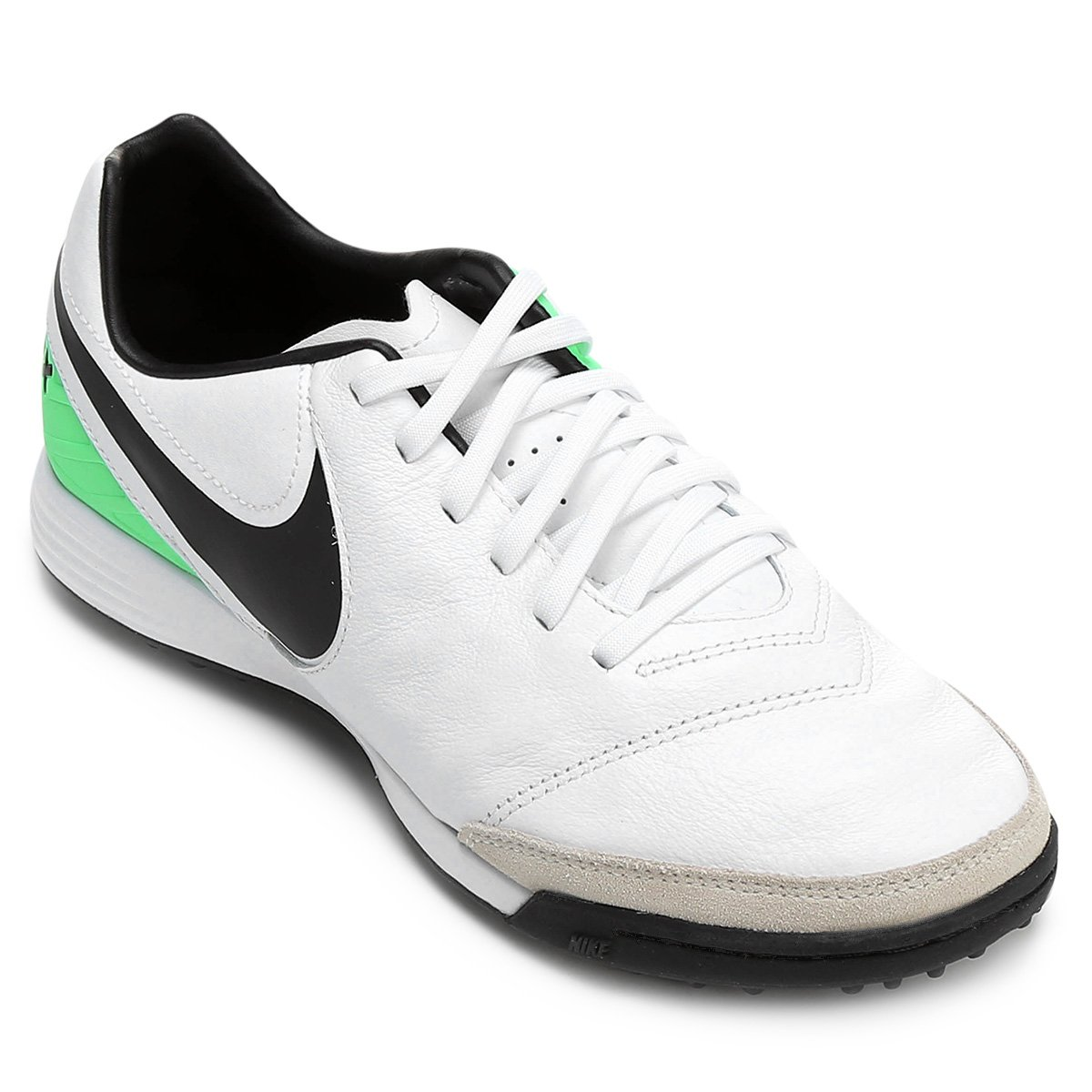 f3abe21368 Chuteira Society Nike Tiempo Mystic 5 TF - Branco e Verde - Compre ...