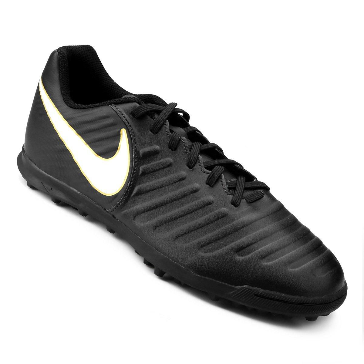d17bbd2d70 Chuteira Society Nike Tiempo Rio 4 TF - Preto e Branco - Compre ...