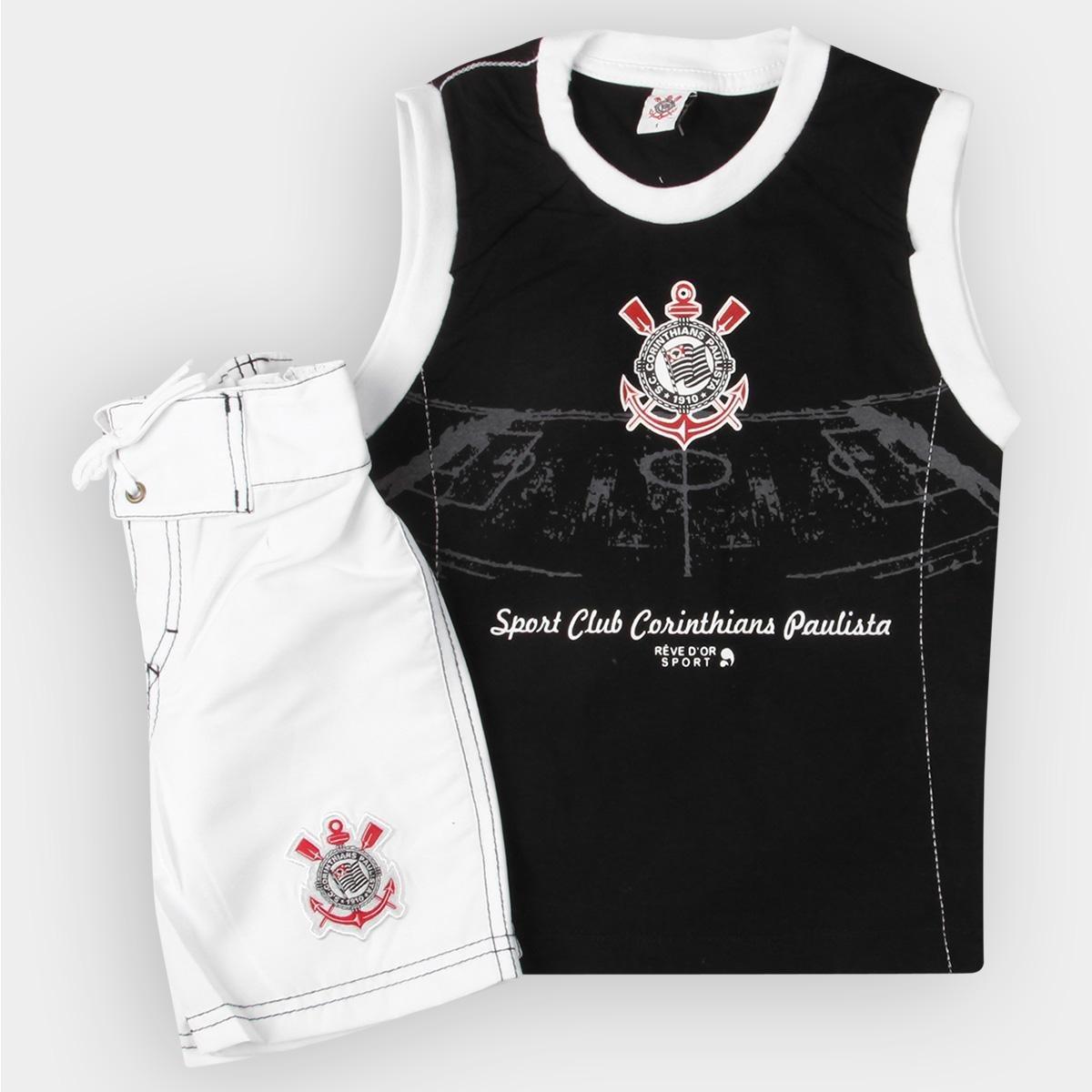 ce35e09bd7cc4 Conjunto Corinthians Infantil Bermuda e Regata   Shop Timão