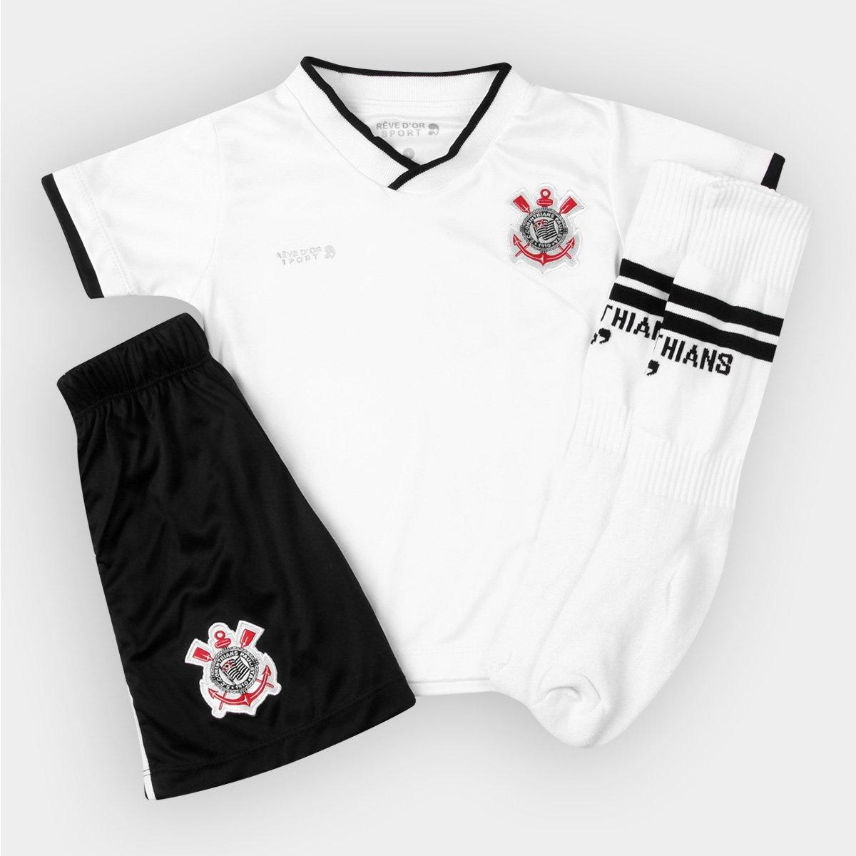a2dc6ec5e946c Conjunto Corinthians Infantil Dry Uniforme Campo - Preto e Branco - Compre  Agora