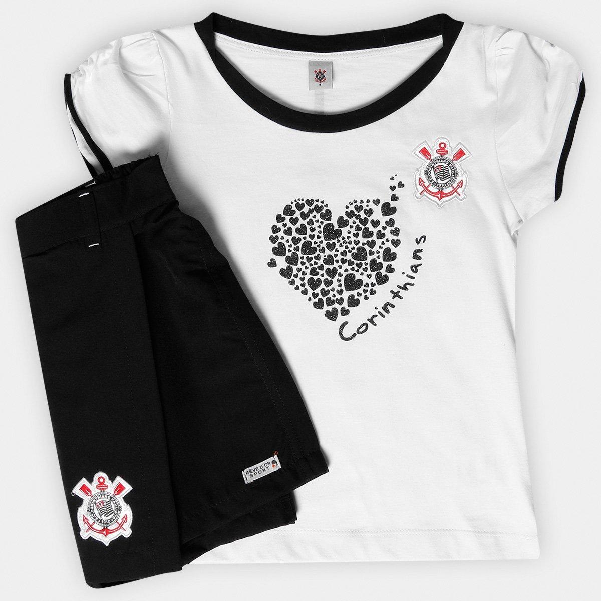 a3eb114d6950c Conjunto Corinthians Juvenil Baby Look e Short-Saia - Preto e Branco - Compre  Agora
