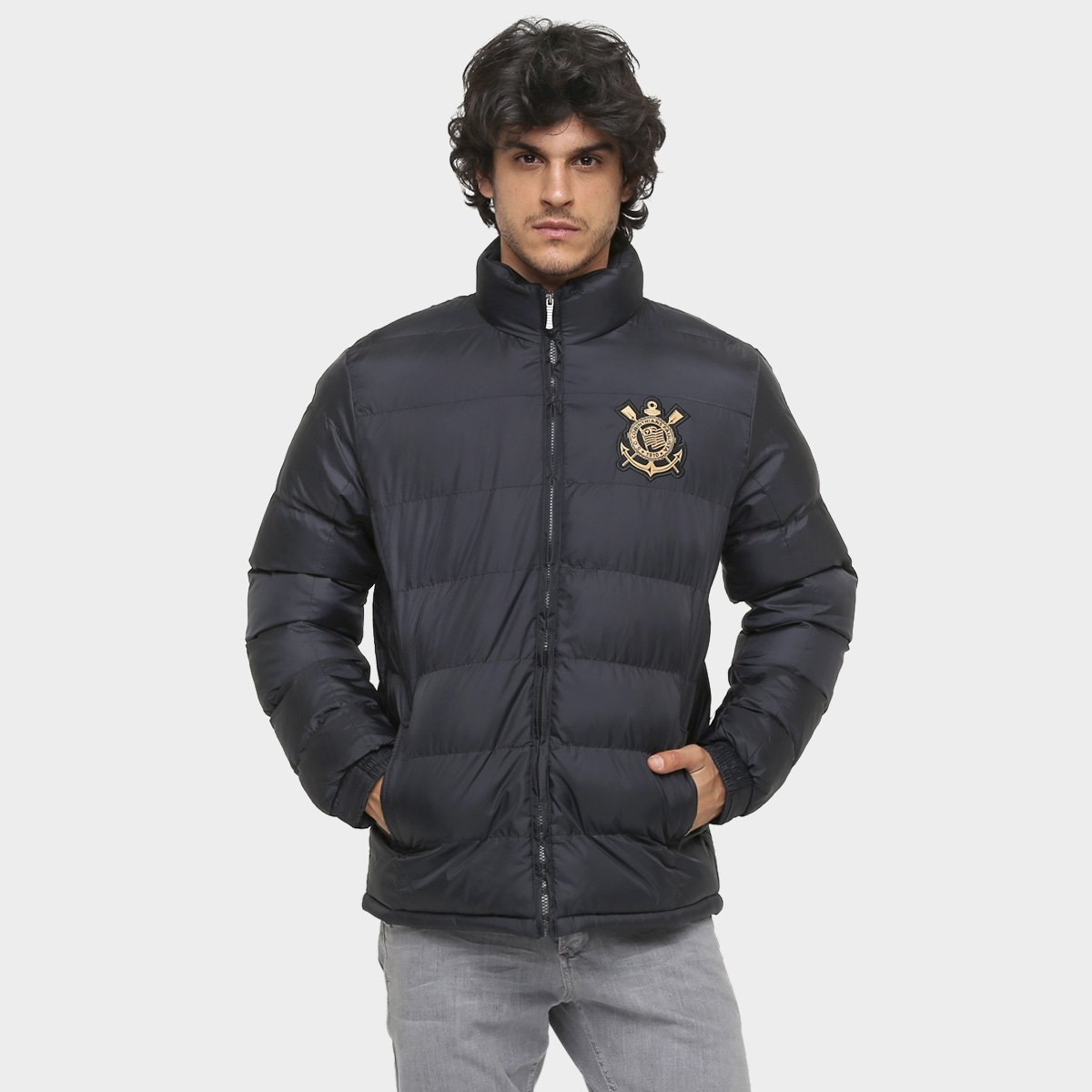Jaqueta Corinthians Super Argan Masculina - Preto e Dourado - Compre ... 80026b7216b74