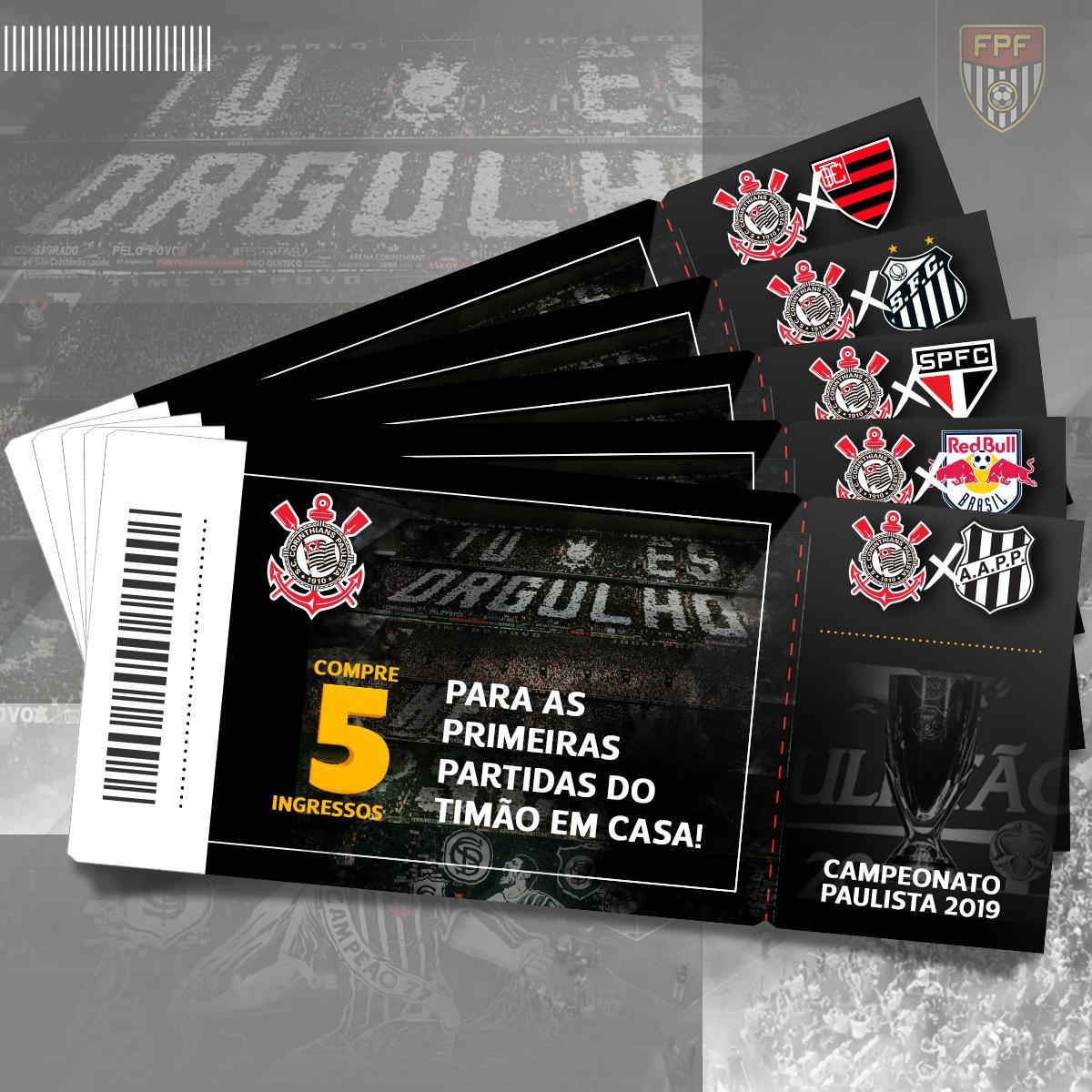 Kit 05 Ingressos Corinthians - Paulistão 2019 - Compre Agora  c0dee5904df6f