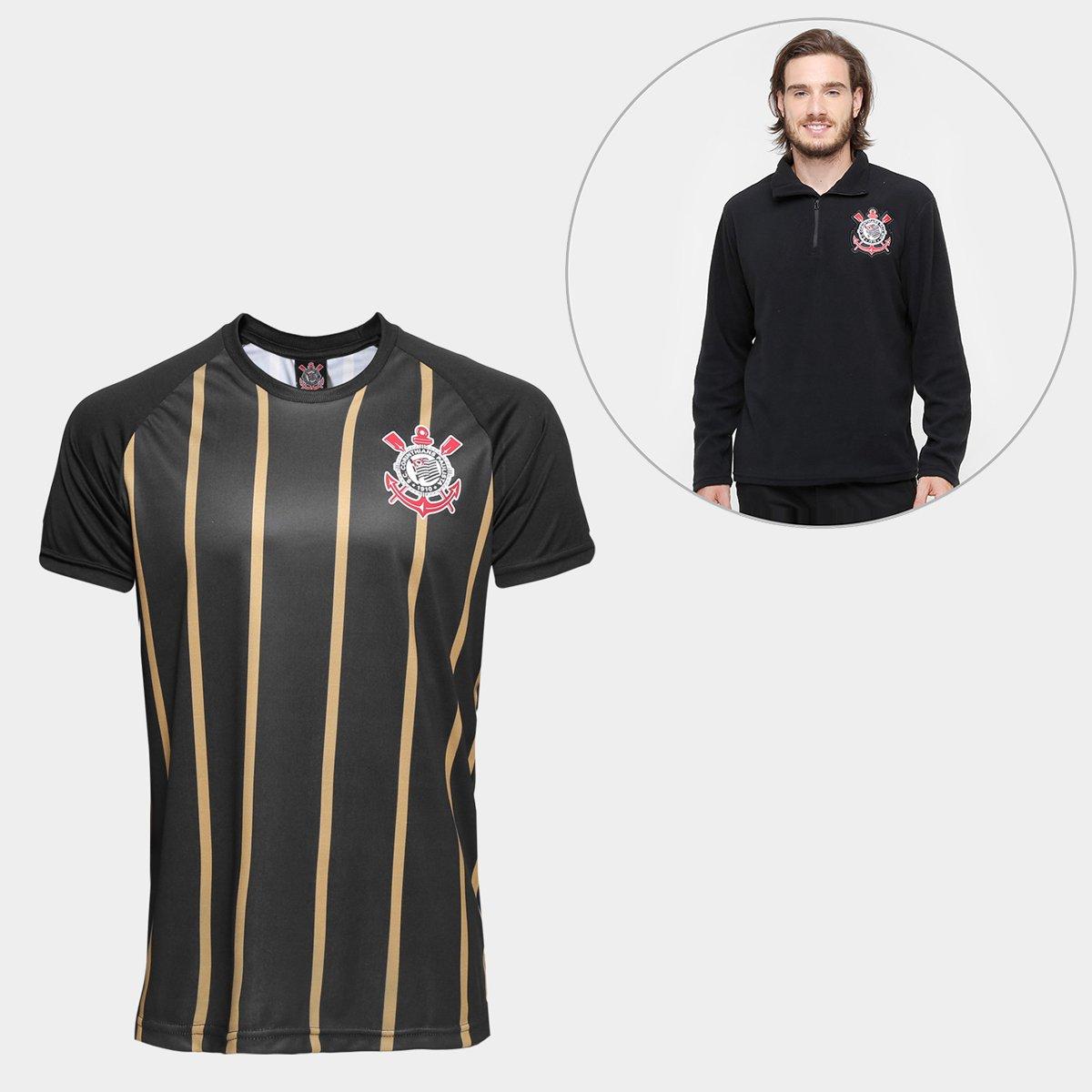 f849854886 455b29b60fe215  Kit Camisa Corinthians Gold nº10 - Edição Limitada + Blusão  Corinthians Polar Fleece Masculino - Preto ...