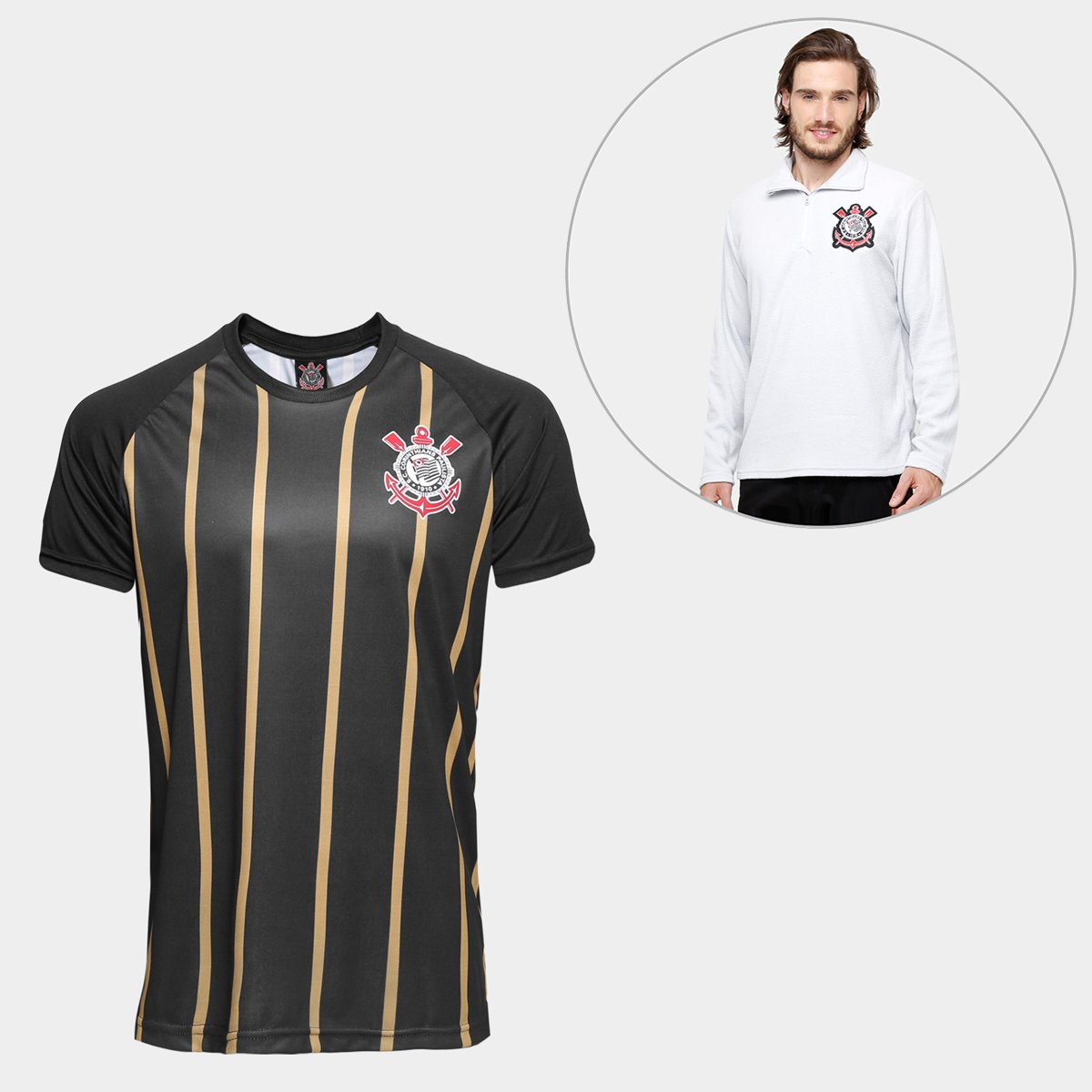 688f02e009 Kit Camisa Corinthians Gold nº10 - Edição Limitada + Blusão Corinthians  Polar Fleece Masculino ...