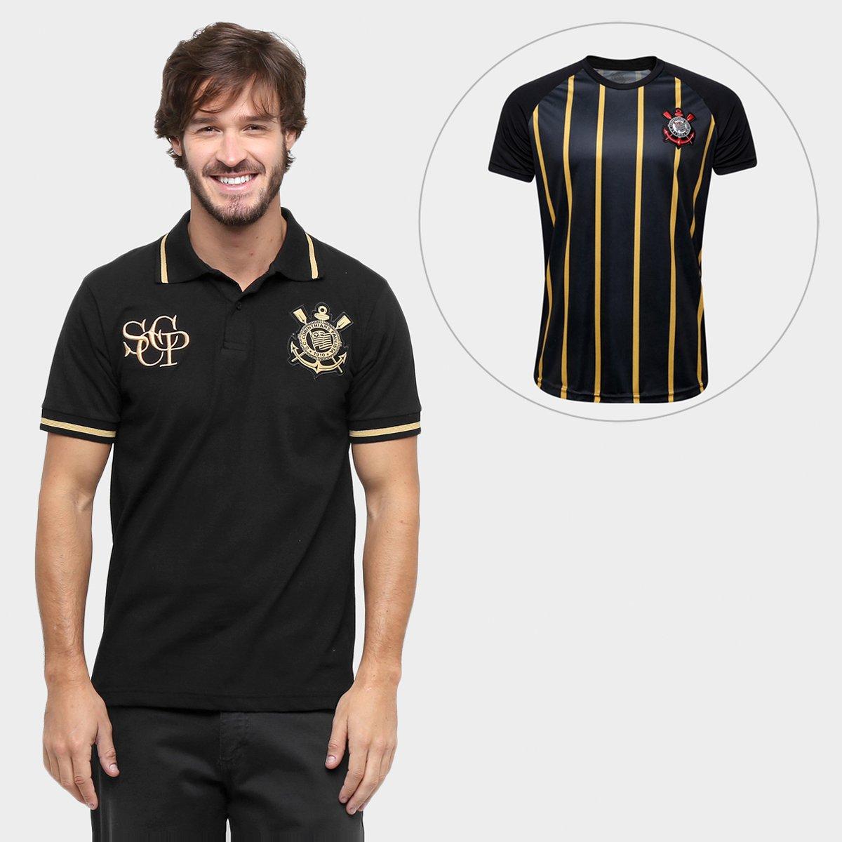 Kit Camisa Polo Corinthians Ouro + Camisa Corinthians Gold Edição Limitada  - Preto+Dourado a482a004cf1e9