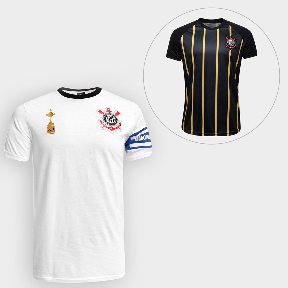 Kit Camiseta Corinthians Capitães Libertadores 2012 n° 2 + Camisa  Corinthians Gold Edição Limitada - 3de8ddc09ca0e