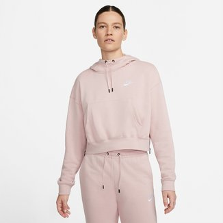 Moletom Cropped Nike Essntl Flc Hoodie Zip Canguru Feminino