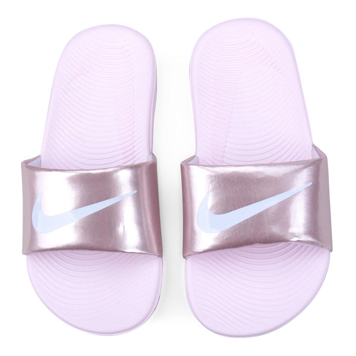 8509b14364 Sandália Infantil Nike Kawa Slide Feminina - Rosa e Branco - Compre Agora